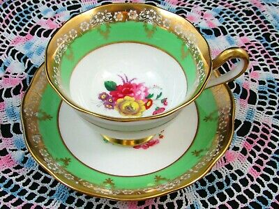 Royal Albert Apple Green Heavy Gold Gilt Floral Tea Cup And Saucer