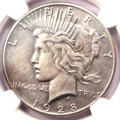 1928 Peace Silver Dollar $1 - NGC AU Details - Rare 1928-P Key Date Coin