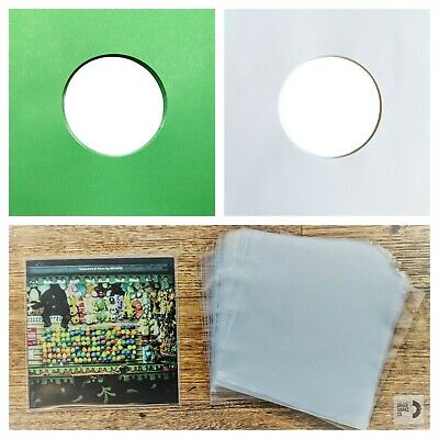 100 RECORD SLEEVES FOR 7″ VINYL - GREEN, WHITE & CLEAR SLEEVES 45RPM EPs