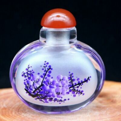 Chinese Handmade Inside painted Blue plum blossom glass Snuff Bottle