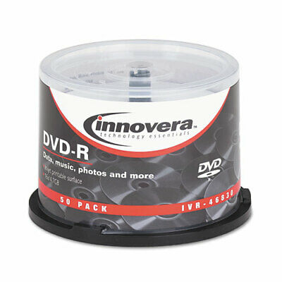 DVD-R Discs, Hub Printable, 4.7GB, 16x, Spindle, Matte White, 50/Pack IVR46830