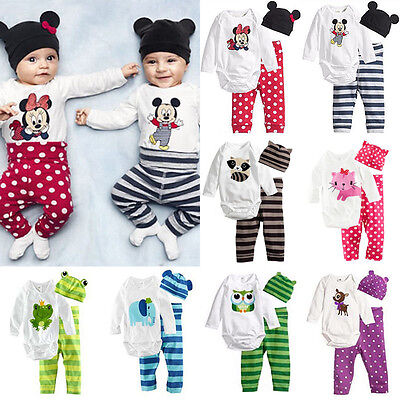 3Pcs Toddler Baby Boy Girl Kid Cotton Beanie Pants Bodysuit Jumpsuit Outfits Set