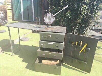Very Heavy Solid Metal Wooden Desk With Tools And Drawers