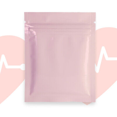 QQ Studio Sterile Pink Mylar Packaging Bags With Ziplock and Custom Printing