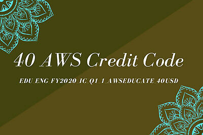 Aws Credit $40 Aws Code RDS Aws Promo Code EC2 Aws Codes New Event FY2020_IC_Q1