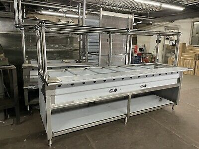 "96"" 8ft Steam Table All Stainless Steel 7 Pan 2 Burners Gas w/ Sneeze Guard NSF"