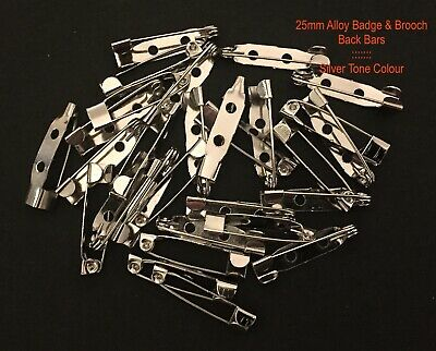 50 - 25mm x 5mm BADGE or BROOCH BACK BAR CLASPS ~ SILVER TONE COLOUR ~ ALLOY