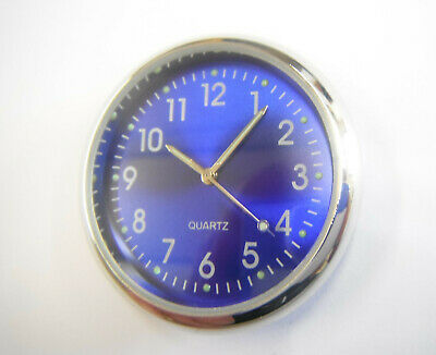 Car Clock Blue Chrome Self Adhesive Gift Boxed