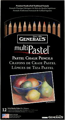 General's Multi-Pastel Non-Toxic Chalk Pencil, Assorted Color, Set of 12