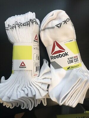 WHITE Reebok Low Cut Mens 20 Pack Ultralight Feather Weight Athletic Socks NEW