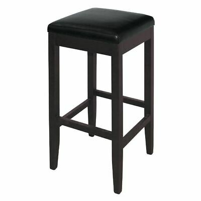 Bolero High Bar Stool in Black Made of Faux Leather & Wood Frame 760mm Pack of 2