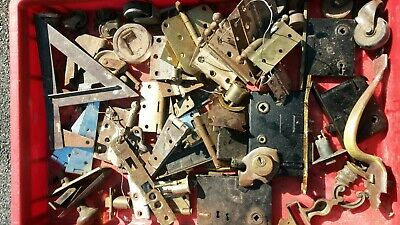 Old Vintage Door Hardware Lot Hinges Locks Brass Handle