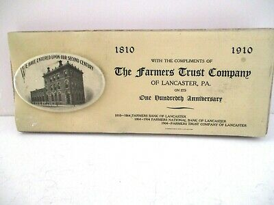 Antique,1910 Farmers Trust Company Of Lancaster County Pa Ink Blotter Pad & Pin