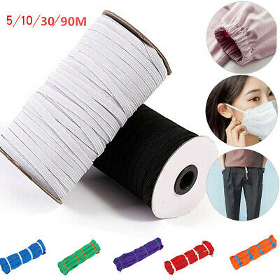6mm Black White Flat Elastic Cord Band For Sewing Dressmaking Tailoring