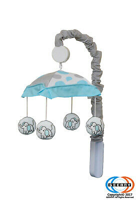 Blizzard Blue Grey Elephant Musical Mobile By GEENNY