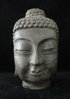 4.1kg Very Heavy Large Old Chinese Hand Carving Natural Stone Buddha Head Statue