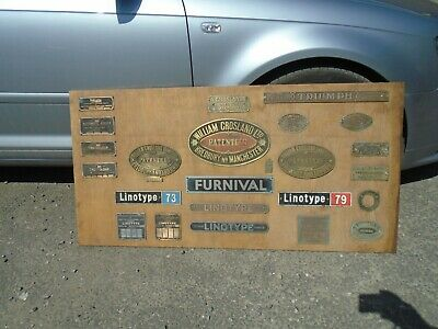 Vintage Industrial Printers Brass Alloy Plaques On Wood Triumph