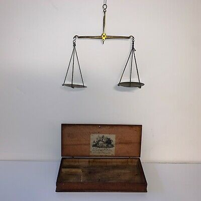Antique Beam Weight Scale and Box with Label