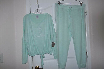*New Secret Treasures Top 3X  Pant 2X Green 2 Pc Pj's/Lounge 'Life Is Beautiful'