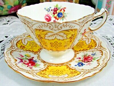 Hammersley Bright Yellow Panels Fancy Floral Tea Cup And Saucer