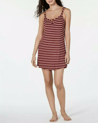 Jenni Women's Plum Wine Striped Ladder Front Chemise Nightgown Size XS MSRP $24.