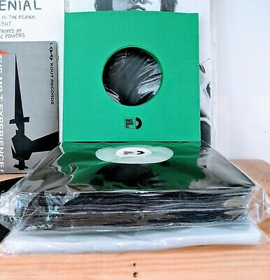 """100 SHEETS - GREEN HNDSTMP+ BLACK + CLEAR SLEEVES FOR 7"""" VINYL RECORDS (45RPMs)"""