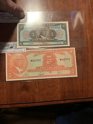 Haiti,  1. 5 Gourdes, L.1979 (1980-1982), P- 232, 231 Unc  Price For Both Notes