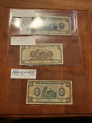 Haiti One Gourde L.1962 P179 190 191 F Notes Price For All 3
