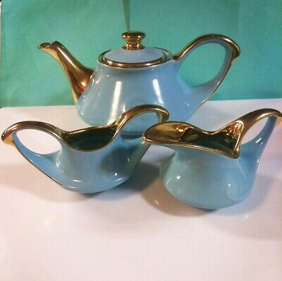 """Vintage Tea Set Pearl China Co Blue and 22kt Gold Hand Decorated """"Swirl"""""""