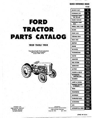 OEM Repair Maintenance Parts Book Bound Ford Tractor 9N Naa 1939-1953 2N 8N