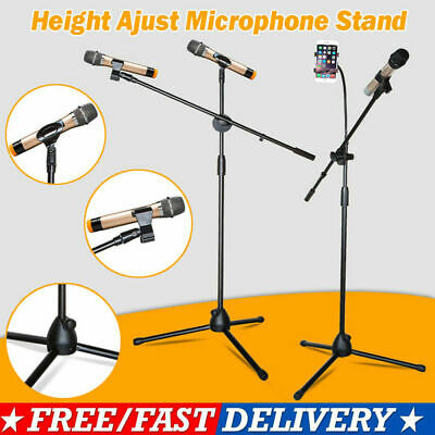 Adjustable Microphone Boom Mic Clip Stand Holder Studio Foldable Mount Tripod UK