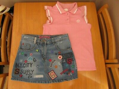 Next Girls Denim Skirt & Pink Polo Top Day Dream Slogan Outfit - Age 12 Years