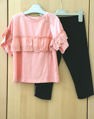 Next Girls Peach Broderie Anglaise Top & Black Crop Leggings  Age 7 Years BNWT