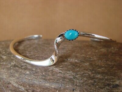 Native American Jewelry Silver & Turquoise Bracelet by Skeets! Stackable