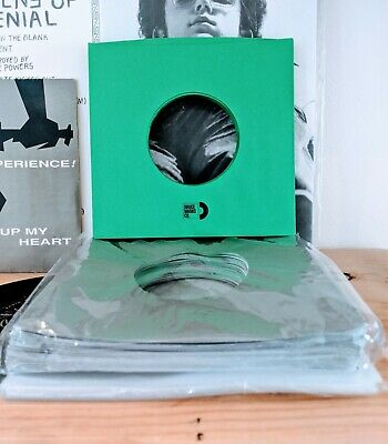 """100 SHEETS - GREENS GREYS & CLEARS RECORD SLEEVES 7"""" VINYL RECORDS (45RPMs)"""