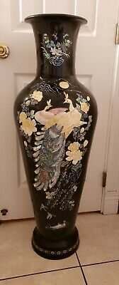 """Antique Chinese Lacquer Magnificent 41"""" Tall  Black Vase Mother Of Pearl Inlay"""