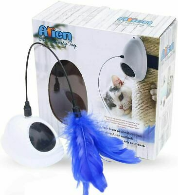 Fun Laser Interactive Cat Toys Automatic Rotating for Kitten W/ Teasing Feather