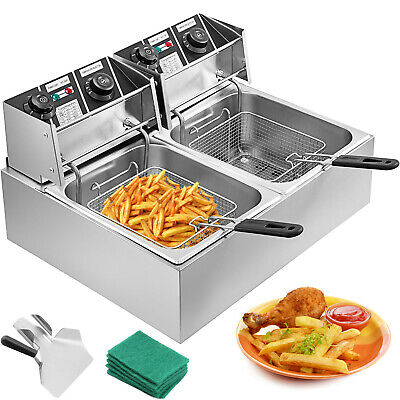 2x10L Deep Fryer Stainless Steel Commercial Twin Double Tank Electric Chip