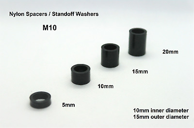 Black Spacers Standoff washers/ collars Nylon Round M10x 5 10 15 20mm Unthreaded