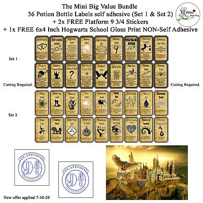 Harry Potter 18 Potion Labels Print Stickers Witches Wizards 2 SETS AVAILABLE