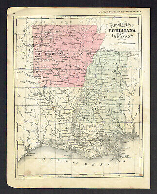 Mississippi~Louisiana~Arkansas 1860 Map~McNally's Geography~Hand Colored