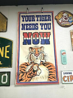 """Vintage E.S.S.O (Standard Oil) """"Your Tiger Needs You Now"""" Banner"""