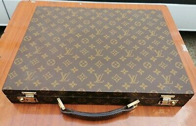 rare unusual slim louis vuitton document briefcase suitcase with key