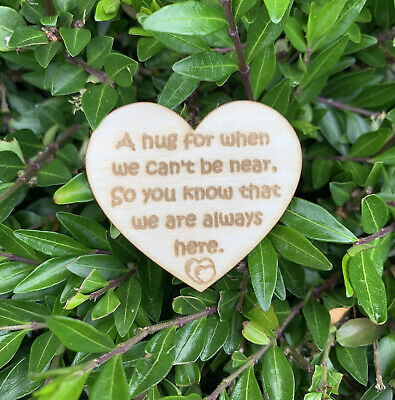 Wooden Little Pocket Hug Heart Tokens Quote for Loved Ones in need of a Hug Gift