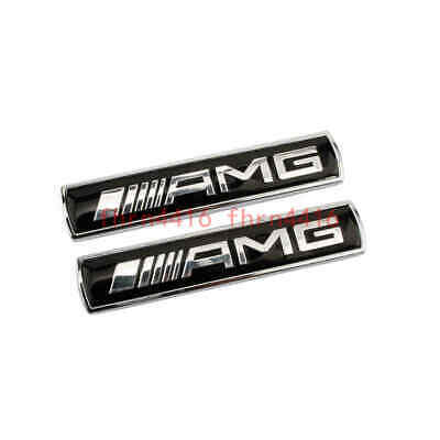 2x Mercedes Benz AMG Logo Car Side Emblem Badge Sticker Fender Badges Black