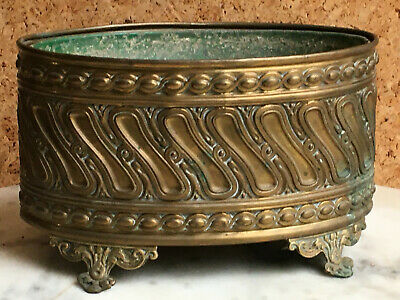 Antique French Brass Footed Jardiniere Planter Center Piece With Liner C1900