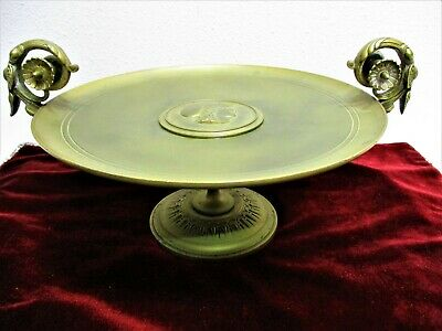 Antique Bronze Neoclassical Ornate Footed & Handled Tazza Coupe Dish 1800's