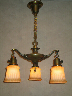 Antique 3 Light  Pan  Electric  Ceiling  Fixture Chandelier , Period Shades