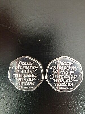 2 X 2020 Brexit 50p coins Uncirculated from sealed bags