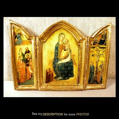 Antique Gilt Painted Wooden Religious Triptych Icon Virgin Mary & Jesus